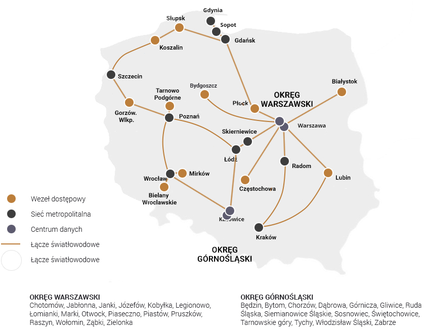 Mapa zasięgu sieci krajowej Atman